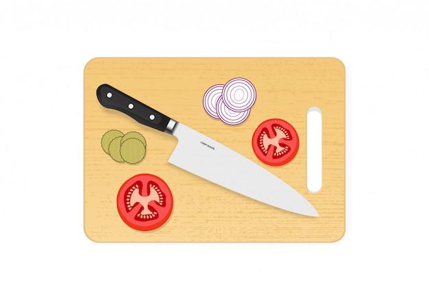 Drewniana deska do krojenia lub cięcia z nożem szefa kuchni