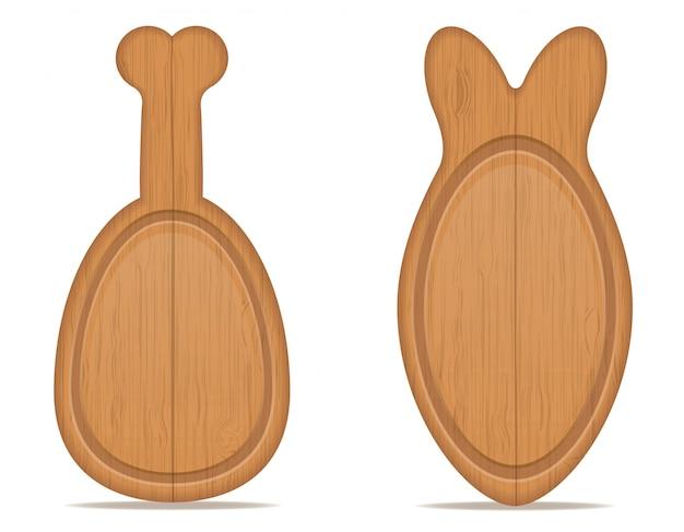 Drewniana deska do krojenia w postaci nogi kurczaka i ilustracji wektorowych ryb