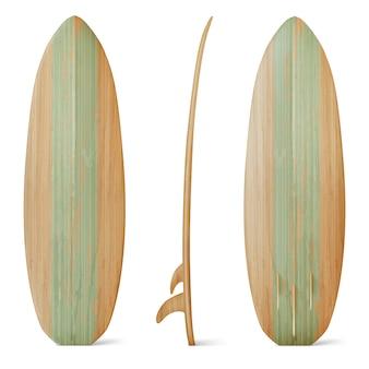 Drewniana deska surfingowa z przodu, z boku iz tyłu. realistyczna drewniana deska do letniej aktywności na plaży, surfowanie na falach morskich. wypoczynek sprzęt sportowy na białym tle