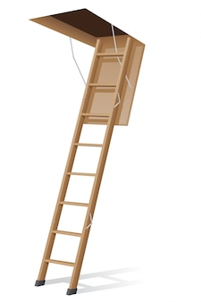 Drewniana drabina na strych.