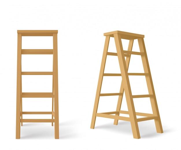 Drewniana drabina, wysokie schody ze stojakiem na tackę