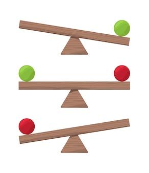Drewniana huśtawka. równowaga skali lub równowagowe elementy wektorowe płaskie ilustracje. deska równoważy równość, skalę i porównuje się chwieje, huśta się w balansie