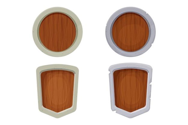 Drewniana i kamienna tarcza średniowieczna ochrona w stylu kreskówka na białym tle