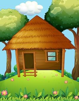 Drewniana kabina na wzgórzu