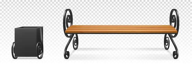 Drewniana ławka i metalowy kosz na śmieci do parku lub ogrodu na przezroczystym tle