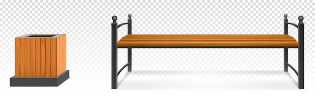Drewniana ławka parkowa i kosz na śmieci, drewniane siedzisko na zewnątrz z kutymi metalowymi nogami i podłokietnikami oraz pojemnik na śmieci. ogród lub miasto meble chodnikowe na przezroczystym tle. realistyczne 3d