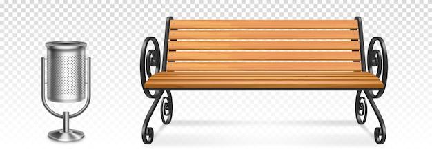Drewniana ławka parkowa i stalowy kosz na śmieci, drewniane siedzisko na zewnątrz z kutymi metalowymi nogami i podłokietnikami oraz pojemnik na śmieci. realistyczne 3d miejskie meble ogrodowe na przezroczystym tle