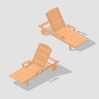 Drewniana ławka plażowa.