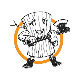 Drewniana maskotka drwal trzyma logo maskotki z siekierą