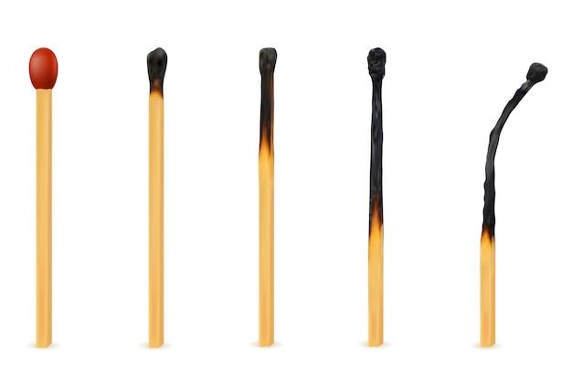 Drewniana paląca i wymarła zapałczana ilustracja