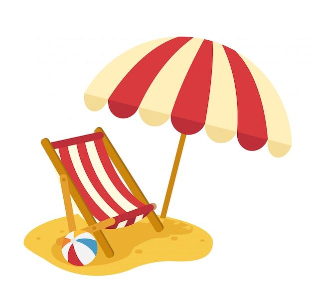 Drewniana plażowa bryczka z parasolem, ilustracja