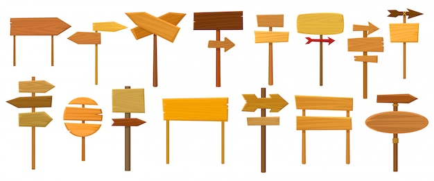 Drewniana poczta ilustracja na białym tle. kreskówka zestaw ikon drogowskaz. ikona kreskówka zestaw drewniany post.
