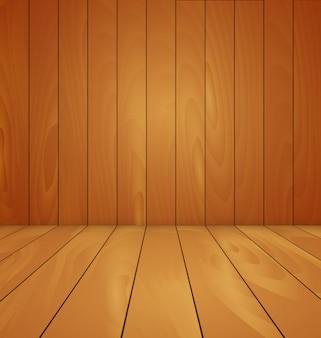 Drewniana podłoga i ściana tła ilustracji wektorowych