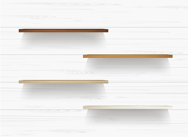 Drewniana półka na biel ścianie.