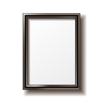 Drewniana prostokątna ramka na zdjęcia z cieniem.