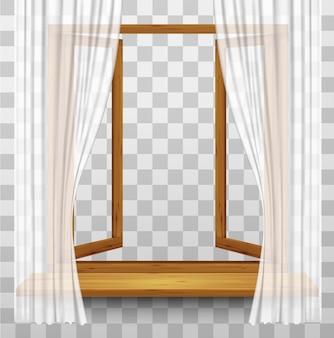 Drewniana rama okienna z zasłonami na przezroczystym tle. wektor