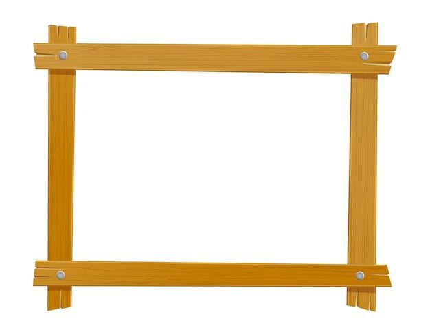 Drewniana ramka na zdjęcia na białym tle