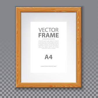 Drewniana ramka na zdjęcie lub wiadomość a4, obrazek na ścianę. realistyczne pudełko na grafikę lub prostą ramkę 3d dla tekstu. pusta ramka reklamowa z cieniem. pudełko informacyjne i fotograficzne, plakat wystawowy