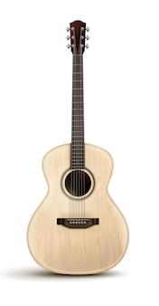 Drewniana realistyczna gitara akustyczna na białym tle