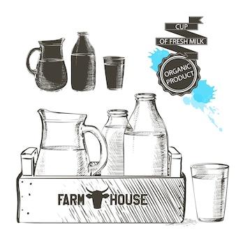Drewniana skrzynia pełna butelek i słoik ze świeżymi produktami mleczarskimi szklanka mleka izolowane