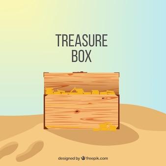 Drewniana skrzynia skarbów o płaskiej konstrukcji