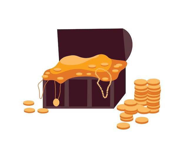Drewniana skrzynia skarbów starożytnych piratów pełna złotych monet i biżuterii płaskiej na białym tle. ikona kreskówka stare drewniane etui z pieniędzmi.