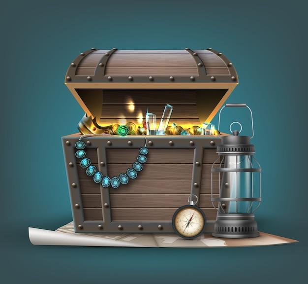 Drewniana skrzynia skarbów z biżuterią, monetami, kamieniami szlachetnymi i atrybutami podróżnika