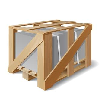 Drewniana skrzynia z ładunkiem na palecie. przykład opakowania produktu. symbol dostawy transportu. ilustracja wektorowa