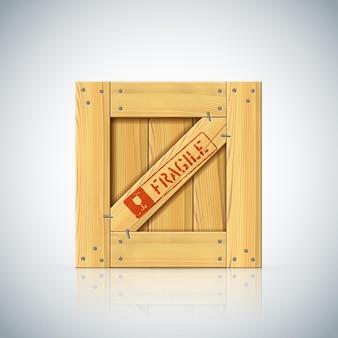 Drewniana skrzynia z uchwytem z symbolem opieki