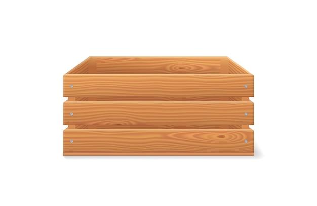 Drewniana skrzynka, drewniana skrzynka ogrodowa na owoce i warzywa. 3d kosz z brązowego drewna do zbioru w widoku z przodu. wektor realistyczna pusta skrzynia na białym tle