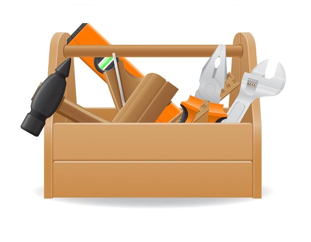Drewniana skrzynka narzędziowa wektorowa ilustracja