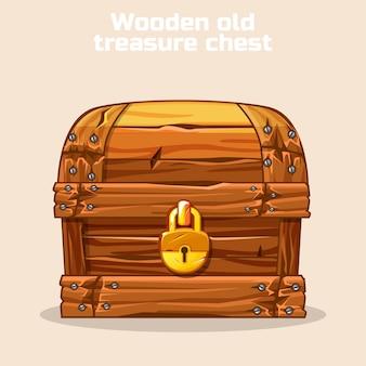 Drewniana stara antyczna skrzynia skarbów