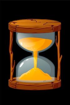 Drewniana stara klepsydra do odmierzania czasu gry. wektor ilustracja vintage brązowy zegar dla interfejsu graficznego.