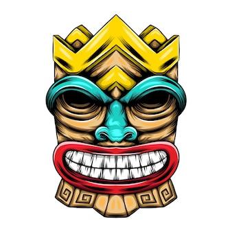 Drewniana statua potwora z twarzą i kolorowym bólem dla inspiracji maską