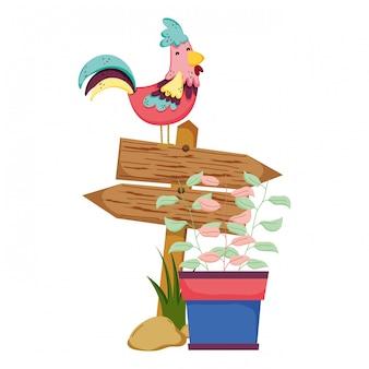 Drewniana strzała z rooster i houseplant