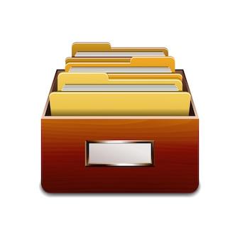 Drewniana szafka do napełniania z żółtymi folderami. ilustrowana koncepcja organizacji i utrzymania bazy danych. ilustracja na białym tle