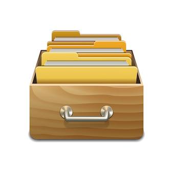 Drewniana szafka do napełniania z żółtymi folderami. ilustrowana koncepcja organizacji i utrzymania bazy danych. odosobniony