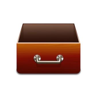 Drewniana szafka na dokumenty.
