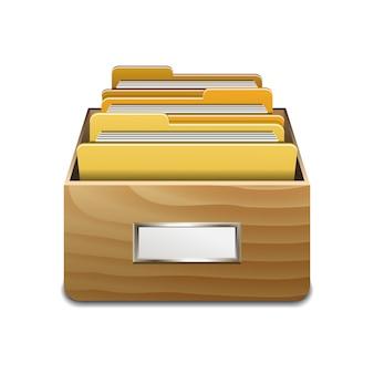 Drewniana szafka napełniająca z żółtymi teczkami. ilustrowana koncepcja organizacji i utrzymania bazy danych.