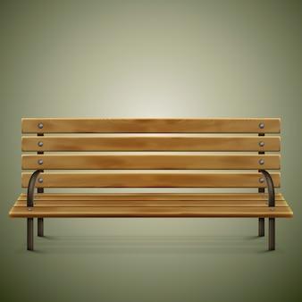 Drewniana szczegółowa ławka na zieleni.
