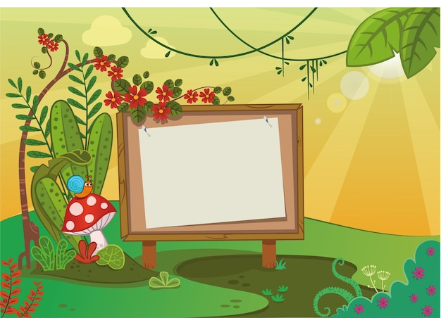 Drewniana tablica do pisania w scenerii przyrody