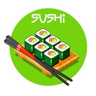 Drewniana taca z sushi wektorowo-japońskim jedzeniem