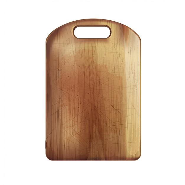 Drewniana tnąca deska na białym tle.