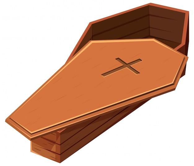 Drewniana trumna z symbolem krzyża