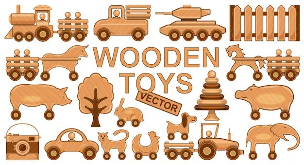 Drewniana zabawkarska ilustracja na białym tle. kreskówka na białym tle ikona drewno lalka. ikona kreskówka zestaw drewniana zabawka.
