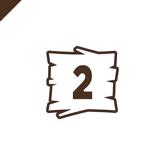 Drewniane alfabet bloki z numerem 2 w strukturze drewna