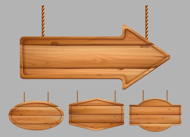 Drewniane banery. realistyczny znak reklamowy tablice vintage tekstura szablonu drewna. drewniana rama tekstury, ilustracja deska drewniana