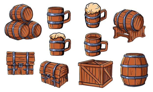 Drewniane beczki, skrzynie, kufle do piwa lub ale