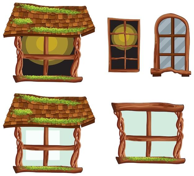 Drewniane części chaty na białym tle