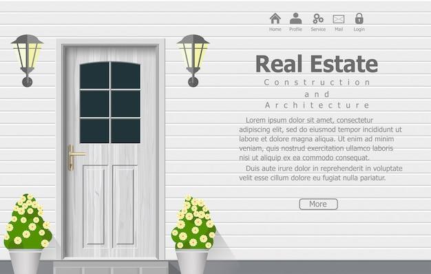 Drewniane drzwi domu, architektura tła, budowanie domu nieruchomości